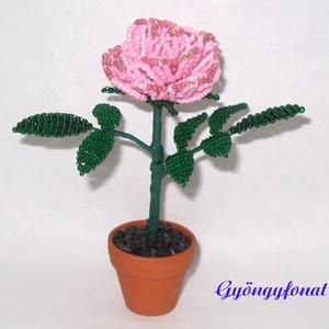 Rózsaszín rózsa gyöngyből. cserepes dísz, Otthon & Lakás, Dekoráció, Csokor & Virágdísz, Gyöngyfűzés, gyöngyhímzés, Mindenmás, Egy szál virágot fűztem 2 mm-es rózsaszín cseh kásagyöngyből, amit 3,5 cm-es cserépbe rögzítettem. A..., Meska