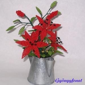Piros liliom gyöngyből cink kiöntóben, asztaldísz, Otthon & lakás, Dekoráció, Lakberendezés, Gyöngyfűzés, gyöngyhímzés, Virágkötés, A díszt 6 cm magas és 5 cm átmérőjű cink kiöntőbe készítettem. A dísz teljes magassága ( virág + cin..., Meska
