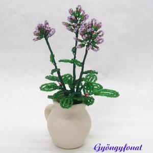 Levendula gyöngyből, cserepes virág , Otthon & lakás, Dekoráció, Dísz, Gyöngyfűzés, gyöngyhímzés, Virágkötés, 3 cm átmérőjű és 4,5 cm magas cserép kancsóba készítettem ezt a kis díszt. A virágokat lila, és zöld..., Meska
