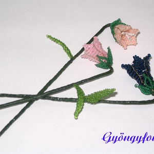 Harangvirág  szálas, gyöngyből, Otthon & lakás, Dekoráció, Lakberendezés, Gyöngyfűzés, gyöngyhímzés, Virágkötés, A virágokat 2 mm-es kásagyöngyből fűztem a képen látható színekben, majd virágdrótra rögzítettem. A ..., Meska