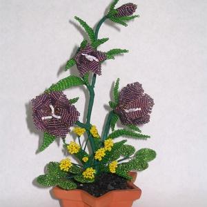Harangvirág mezei virággal gyöngyből csillag alakú cserépben, lakásdekoráció (gyongyfonat) - Meska.hu