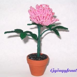 Rózsaszín rózsa gyöngyből, cserepes dísz (gyongyfonat) - Meska.hu