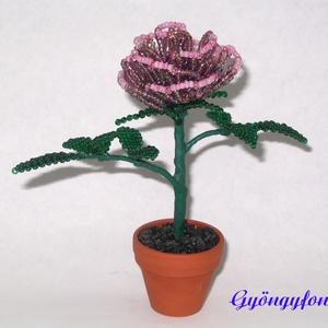 Lila rózsa gyöngyből, cserepes dísz (gyongyfonat) - Meska.hu