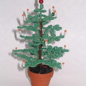 Karácsonyfa gyöngyből , Karácsony & Mikulás, Karácsonyi dekoráció, A karácsonyfát 4 cm átmérőjű cserépbe készítettem. A dísz a cseréppel együtt 13 cm magas, szélessége..., Meska