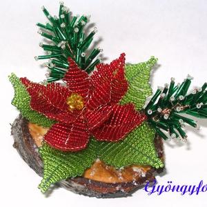 Piros mikulásvirág karácsonyi asztaldísz (gyongyfonat) - Meska.hu