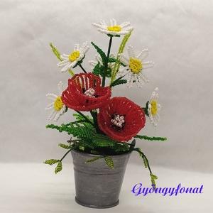 Pipacs margitvirággal cink vödörben gyöngyből, asztaldísz (gyongyfonat) - Meska.hu