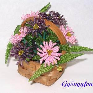 Mirigyes őszirózsa kosárban,  gyöngyből virág, asztaldísz , Asztaldísz, Dekoráció, Otthon & Lakás, Gyöngyfűzés, gyöngyhímzés, Virágkötés, Az asztaldíszt 7x4 cm-es háncskosárba készítettem, magassága kb. 10 cm, legszélesebb része kb.11 cm...., Meska