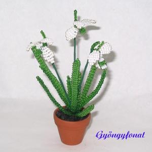 Hóvirág gyöngyből, cserepes virág, Otthon & lakás, Dekoráció, Dísz, Lakberendezés, Gyöngyfűzés, gyöngyhímzés, Virágkötés, A tavasz első hírnöke a hóvirág. Ezt a kis virágot most 3,5 cm-es cserépbe fehér és zöld  2 mm-es cs..., Meska