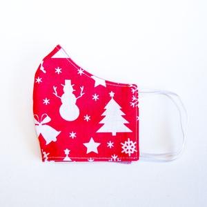 Karácsonyi mintás szájmaszk, 3 rétegű szájmaszk, Gyerek maszk, Egyedi szájmaszk, Textil szájmaszk, Mosható szájmaszk, Maszk, Arcmaszk, Varrás, Egyedi, mintás szájmaszk, mosható egészségügyi szájmaszk.\nGyerek maszk mérete: 5-10 éves kor között:..., Meska