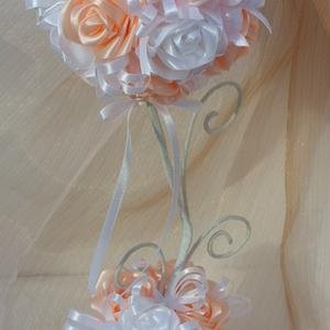 Asztaldísz szatén rózsákból. (Gyongykertesz) - Meska.hu
