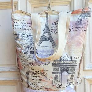 Párizs mintás textil táska, Táska, Hátizsák, Válltáska, oldaltáska, Varrás, 2 az 1- ben textil táska Bélelt válltáska, vagy hátizsák .Mikor, mi a praktikus használat. Felül hú..., Meska