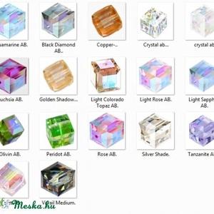 Ékszerkellék: Swarovski kocka 6mm-es AB bevonatos  több színben - gyöngy, ékszerkellék - swarovski kristályok - Meska.hu