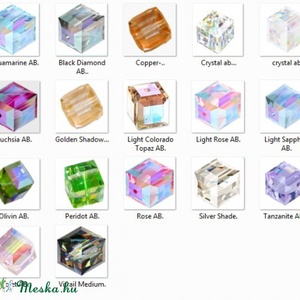 Ékszerkellék: Swarovski kocka 4mm-es AB bevonatos  több színben - gyöngy, ékszerkellék - swarovski kristályok - Meska.hu