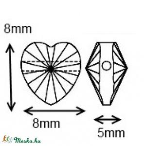 Swarovski szív keresztben fúrt 8mm-es több színben 2db /csomag - gyöngy, ékszerkellék - swarovski kristályok - Meska.hu