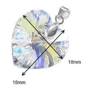 Swarovski kristály medál -18mm-es AB-s szív több színben  - ékszer - nyaklánc - medál - Meska.hu