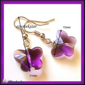 Ezüstözött pillangós fülbevaló több színben SFEB-K12  - ékszer - fülbevaló - lógó fülbevaló - Meska.hu