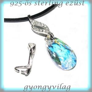 925-ös ezüst medálkapocs  EMK 50, Gyöngy, ékszerkellék, Egyéb alkatrész, Ékszerkészítés, Mindenmás, Szerelékek, 925-ös fémjellel ellátott valódi ezüst (bevizsgált)medálkapocs CZ kristály kővel.\n\nA méreteket a fot..., Meska