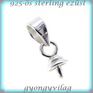 925-ös ezüst medálkapocs EMK 44, Gyöngy, ékszerkellék, Egyéb alkatrész, 925-ös fémjellel ellátott valódi ezüst (bevizsgált)medálkapocs, stift félig fúrt gyöngyhöz .   A swa..., Meska