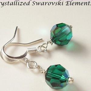 Swarovski kristály fülbevaló -8mm-es AB-s gömb  több színben  - ékszer - fülbevaló - lógó fülbevaló - Meska.hu
