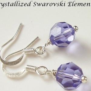 Swarovski kristály fülbevaló -8mm-es gömb  több színben  - ékszer - fülbevaló - lógó fülbevaló - Meska.hu