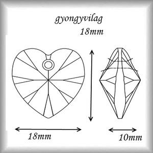 Swarovski kristály medál: SWM szív (6228) 18mm-es több színben - gyöngy, ékszerkellék - swarovski kristályok - Meska.hu