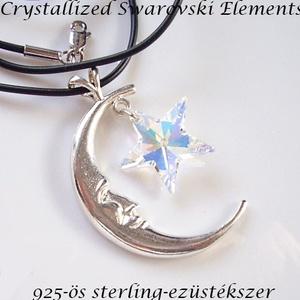Ezüst-Swarovski kristály nyaklánc -20mm-es csillag több színben, Ékszer, Medálos nyaklánc, Nyaklánc, Ékszerkészítés, Gyöngyfűzés, gyöngyhímzés, Meska