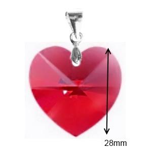 Swarovski kristály medál -28mm-es szív több színben  - ékszer - nyaklánc - medál - Meska.hu