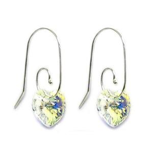 Swarovski kristály 925-ös ezüst  fülbevaló -10mm-es AB-s szív több színben , Ékszer, Medál, Ékszerkészítés, Gyöngyfűzés, gyöngyhímzés, Swarovski kristály 925-ös ezüst fülbevaló.\n10 mm-es  crystal AB bevonatos szív fülbevaló  ezüst kapo..., Meska