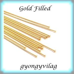 Gold  Filled szerelőpálca szög végű  12  x 0,5mm-es, Gyöngy, ékszerkellék, Egyéb alkatrész, Ékszerkészítés, Mindenmás, Szerelékek, Gold Filled 12mm hosszú 0,5mm drótvastagságú. A végén lapított .\n\n1 db\n\n\n Gold Filled (aranydiffúzió..., Meska