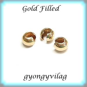 925-ös ezüst csomótakaró ECST01-3G, Gyöngy, ékszerkellék, Egyéb alkatrész, Ékszerkészítés, Gyöngy, ECST01-3G\n14K arannyal bevont (gold filled) gömb alakú csomótakaró.\nA csomóra helyezve össze kell ny..., Meska