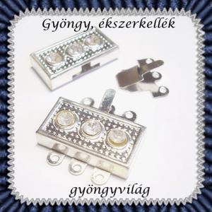 Ékszerkellék: lánckapocs BLK-3S-02, Gyöngy, ékszerkellék, Egyéb alkatrész, Ékszerkészítés, Mindenmás, Szerelékek, BLK-3S-02\n\nEzüstözött, 3 soros mágneses lánckapocs.\n\n1db / csomag\n\n, Meska