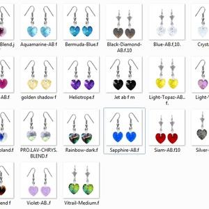Swarovski kristály fülbevaló -10mm-es AB-s szív több színben , Ékszer, Lógó fülbevaló, Fülbevaló, Ékszerkészítés, Gyöngyfűzés, gyöngyhímzés, Meska