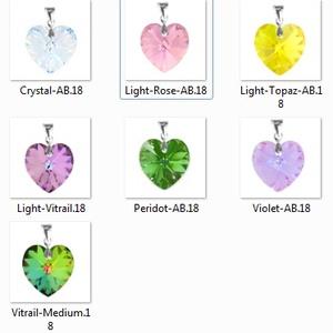Swarovski kristály medál -18mm-es AB-s szív több színben , Ékszer, Medál, Nyaklánc, Ékszerkészítés, Gyöngyfűzés, gyöngyhímzés, Meska