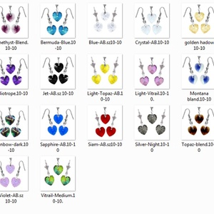 Swarovski kristály 10-10 mm-es AB bevonatos szív szett több színben - ékszer - ékszerszett - Meska.hu