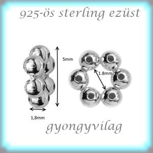 925-ös ezüst köztes / gyöngy / dísz EKÖ 79 - Meska.hu