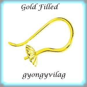 Gold Filled fülbevalókapocs félig fúrt gyöngyhöz  EFK A 70 g - Meska.hu