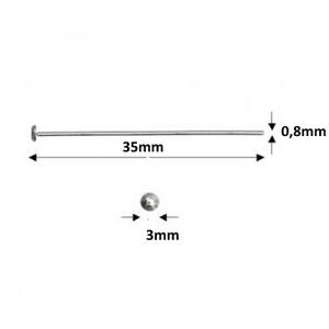 925-ös sterling ezüst ékszerkellék: szerelőpálca szög végű 35  x 0,8mm-es  - Meska.hu