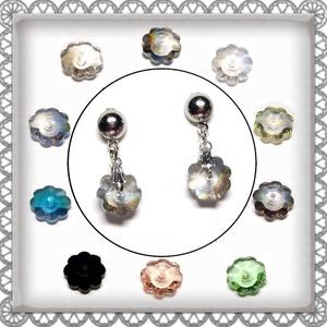 Cseh kristály margaréta fülbevaló több színben  SFEB-16-1, Ékszer, Lógó fülbevaló, Fülbevaló, Ékszerkészítés, Gyöngyfűzés, gyöngyhímzés, Meska