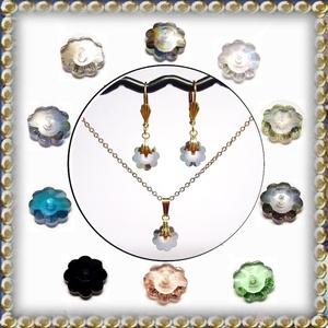Cseh kristály margaréta fülbevaló + medál + nyaklánc  több színben  SSZAB-16, Ékszer, Ékszerszett, Ékszerkészítés, Gyöngyfűzés, gyöngyhímzés, Meska
