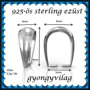925-ös sterling ezüst ékszerkellék: medáltartó, medálkapocs EMK 77-9AG - gyöngy, ékszerkellék - egyéb alkatrész - Meska.hu