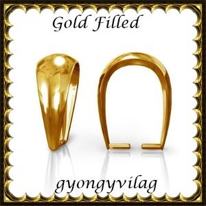925-ös sterling ezüst ékszerkellék: medáltartó, medálkapocs EMK 77-11AU Gold Filled, Gyöngy, ékszerkellék, Egyéb alkatrész,  EMK 77-11AU  14K arannyal bevont (gold filled) 925-ös ezüst medálkapocs.  A méreteket a fotón látha..., Meska