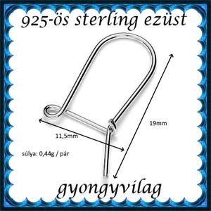 925-ös sterling ezüst ékszerkellék: fülbevalóalap biztonsági kapoccsal EFK K 12 - Meska.hu