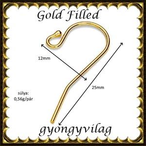 925-ös sterling ezüst ékszerkellék: fülbevalóalap akasztós  EFK A 01-2 au gold filled - Meska.hu