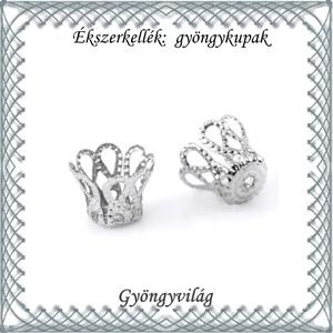 Ékszerkellék: gyöngykupak BGYK 18-5x6 , ródiumozott, 40db - Meska.hu
