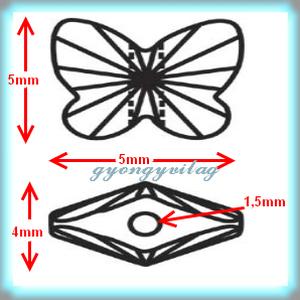 Ékszerkellék: Swarovski pillangó fűzhető 5mm több szín - Meska.hu