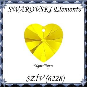 Ékszerkellék: Swarovski szív 14mm-es Light Topaz, Gyöngy, ékszerkellék, Swarovski kristályok, Ékszerkészítés, Gyöngy, SWAROVSKI KRISTÁLY \nSZÍV\n !\n\nMéret:14mm\n\n\n\n\nA teljes színválasztékot az utolsó fotón  találod, a kés..., Meska
