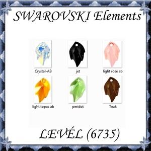 Ékszerkellék: Swarovski levél 26mm-es több színben SW6735 - gyöngy, ékszerkellék - swarovski kristályok - Meska.hu