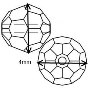 Ékszerkellék: Swarovski kristály gömb 4mm AB bevonatos 4db/csomag több színben - Meska.hu