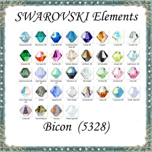 Ékszerkellék: Swarovski bicon 4mm-es AB bevonatos több színben, Gyöngy, ékszerkellék, Swarovski kristályok, Ékszerkészítés, Gyöngy, Eredeti swarovski kristály bicon több színben.\nSzín: több színben\nMéret:4mm\n10db/ csomag \n\nA 10db-ot..., Meska
