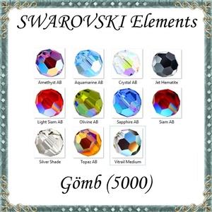 Ékszerkellék: Swarovski kristály gömb 6mm AB bevonatos  több színben - Meska.hu